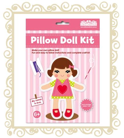 On sale! http://www.buttonbaby.com.au/willow-finch-pillow-doll-p-1984.html  Willow & Finch Pillow doll.  Make your own pillow doll! Fun and easy to follow instructions and complete craft kit.  Recommended age 6+.