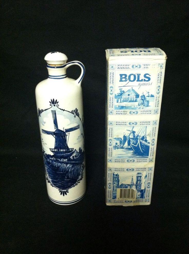 "Vintage Handpainted Windmills Zenith Delft Blue BOLS Liquor Bottle w/Stopper 11"""