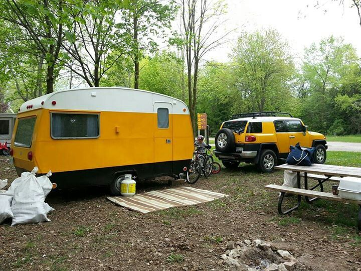 Our 1969 Sprite camping trailer repainted to match our truck...love it!