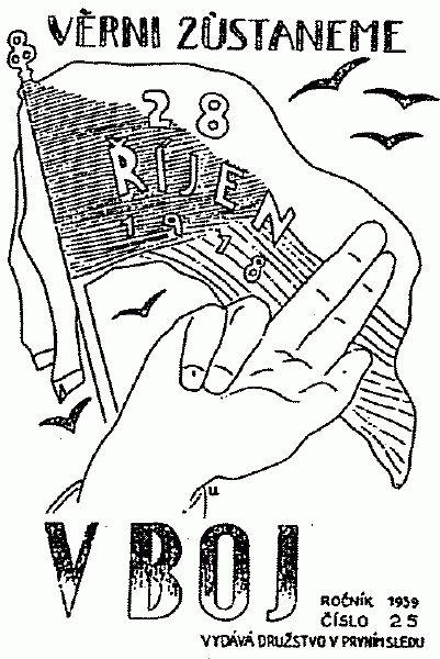 """Title page of resistance magazine named """"V Boj"""". 1939"""