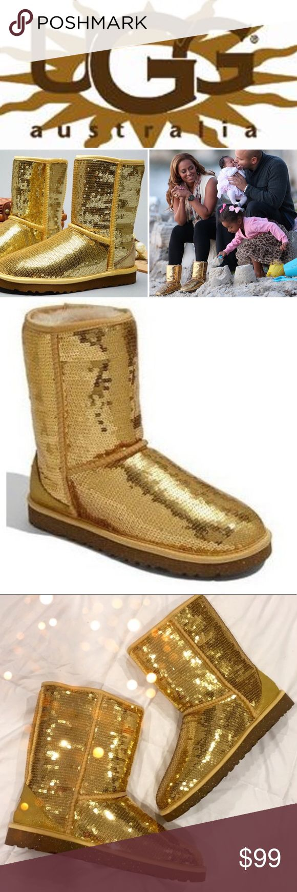 🔆 CLASSIC SHORT UGGS GOLD SEQUIN 🔆 RARE 🔆 Hate to part with these little gems 💎 Gorgeous Classic Short Uggs in gold sequins! RARE! Head-turners FOR SURE! They are pre loved and very good condition. Only worn a couple of times and never in wet weather. Includes the UGG leather conditioner that came with them. Comes from a smoke free home 🏡 Bundle & save! UGG Shoes Winter & Rain Boots