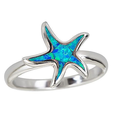 160-240 - Sterling Silver Simulated Opal High Polished Starfish Ring