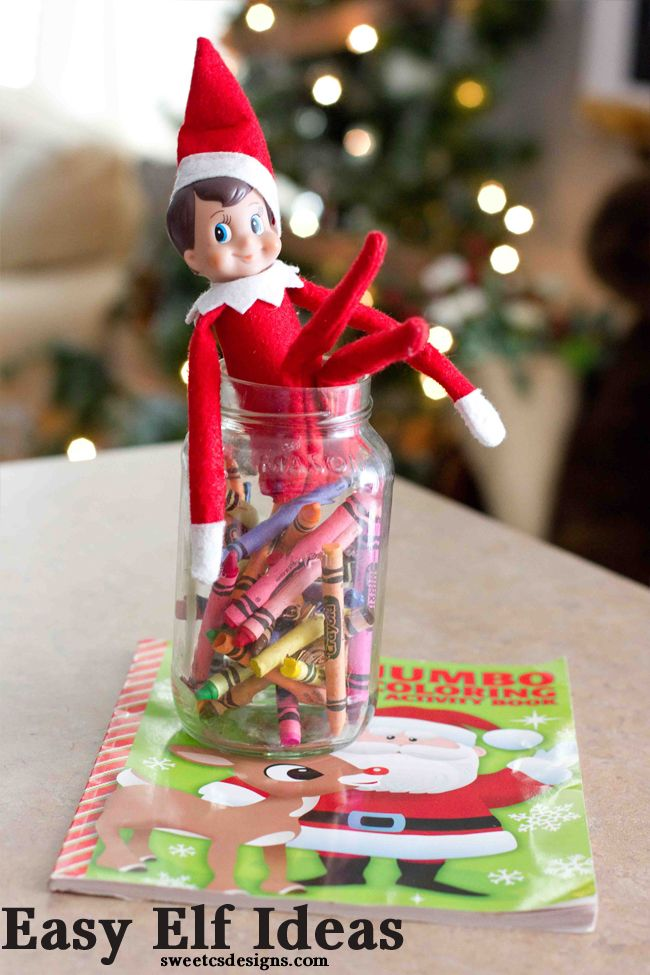 Have your elf give Christmas coloring books- and lots of other ideas that are easy and fun for kids!