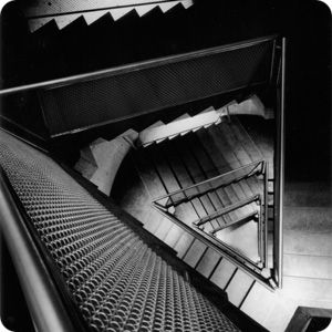 (Louis) Kahn's stairwell in the Gallery is a triangle in a cylinder. The Yale Center for British Art, Kahn's final building, has a cylindrical stairwell with a square inside.