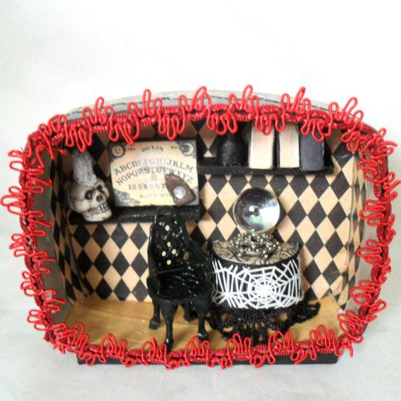 Miniature Fortune Teller Shadow Box Art by Nacreous Alchemy