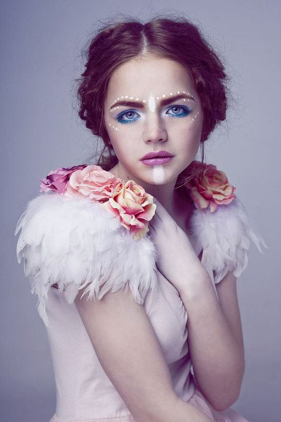 Rose and feather shoulder pieces, floral feather wings, white wings, white swan, rose shoulder pieces