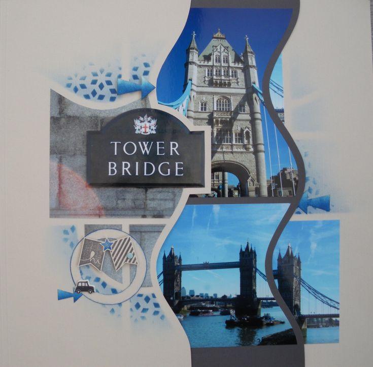 """Pour vous présenter le célèbre """"Pont de la Tour"""", j'ai choisie de réaliser 3 pages superposées (faites """"Maison"""") à l'aide du gabarit AZZA """"Sophia"""" issu du """"Duo Sophia-Lima"""". Voici l'ensemble de la composition : Tower Bridge Le premier volet laisse la..."""