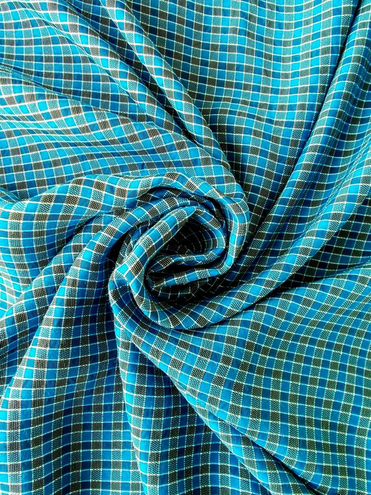 Vintage Woven Check Cotton/Synthetic Mix Dress Fabric - 1960's / 1970's - Blue, black & white - Priced by the metre - Unused