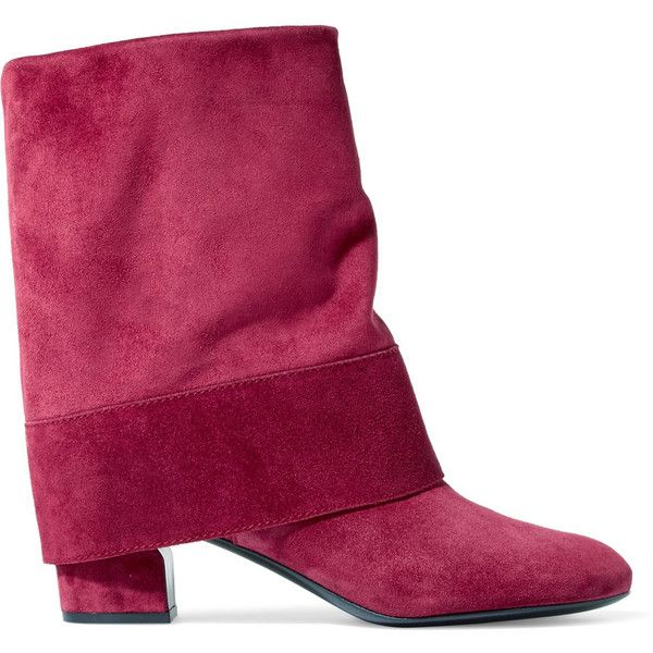 Casadei Suede boots (445 CHF) ❤ liked on Polyvore featuring shoes, boots, plum, suede shoes, plum shoes, suede boots, slip on shoes and pull on boots