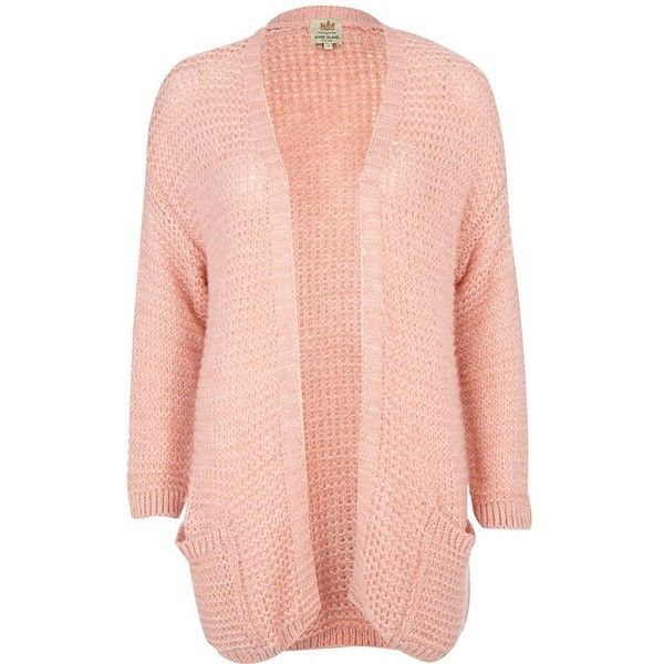 River Island Light Pink Fluffy Cardigan ($48) ❤ liked on Polyvore ...
