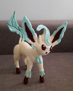 Ravelry: free crochet pattern for Leafeon Pokemon (Eevee evolution) by Fiona Lesley