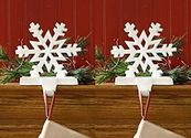 Christmas Stocking Holders For Mantle | White Snowflake Stocking Holder - Set of 2
