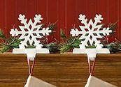 Christmas Stocking Holders For Mantle | White Snowflake Stocking Holder - Set of 2