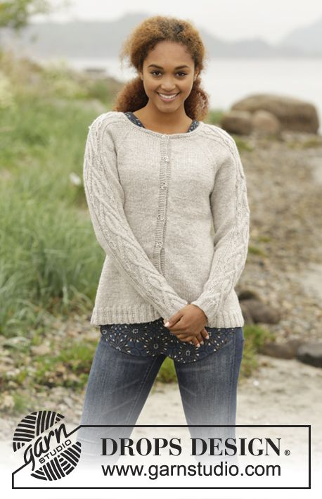 Irish Plaits Cardigan by DROPS Design. Free #knitting pattern