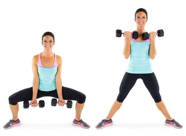 Sumo squat with biceps curl...Thunder Thighs No More: 58 Must-Try Toning Moves