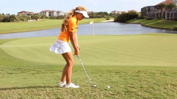 How to Hit a Fast Downhill Chip - Kathleen Ekey Golf Tips - Tee Times USA #BrilliantGolfTips
