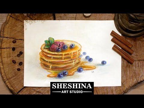 Видеоурок: как нарисовать блины с медом и черникой сухой пастелью - Ярмарка Мастеров - ручная работа, handmade