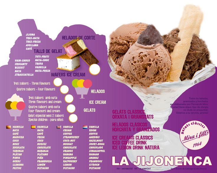 Disseny i impressió de cartes de gelats per La Jijonenca