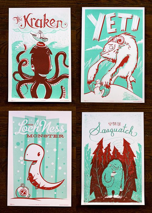 Very friendly Monster Friends poster series available from Familytree. The Kracken, Yeti, Loch Ness, & Sasquatch, by Alex Pearson, Jeff Kandefer, Andy Young, and Julian Baker respectively.