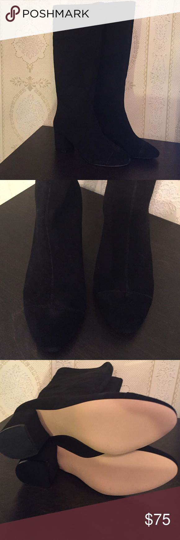 Gap knee high suede like black boots. NWT Size 7 zip up back. 2.5 inch heel. NWT GAP Shoes Heeled Boots
