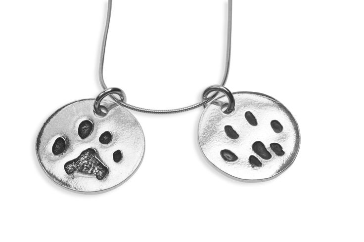 Double paw print pendant on snake chain   www.silverpetprints.com