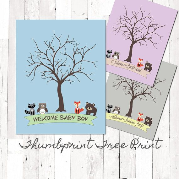 Digital Forest Friends Thumbprint Tree Poster Baby Shower