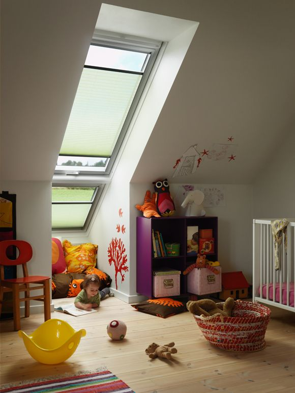 We all remember our first bedroom. So when planning your child's room, keep in mind that the space should be light and airy, but also have its own special atmosphere. This loft room with sloping walls is brightly illuminated by two VELUX roof windows. The top window has a bottom opening handle, while the lower window is fixed and cannot be opened.