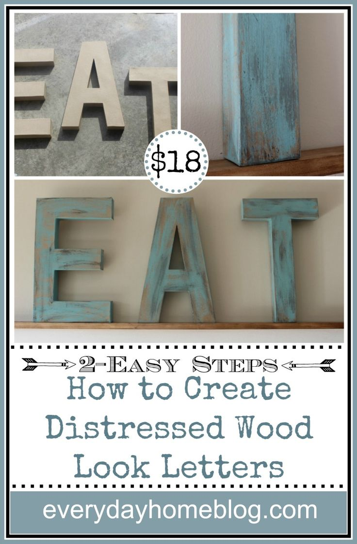 Using paint and stain, I used some Hobby Lobby Cardboard Letters, and show you step by step How to Paint a Distressed Wood Look in two easy steps.