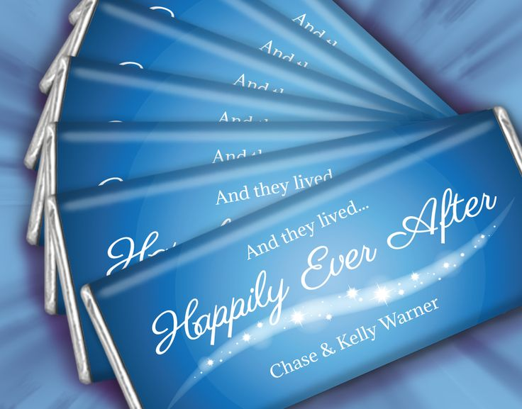 Happily Ever After Fairytale Inspired Wedding Favors: Personalized HERSHEY'S Chocolates in Blue and White