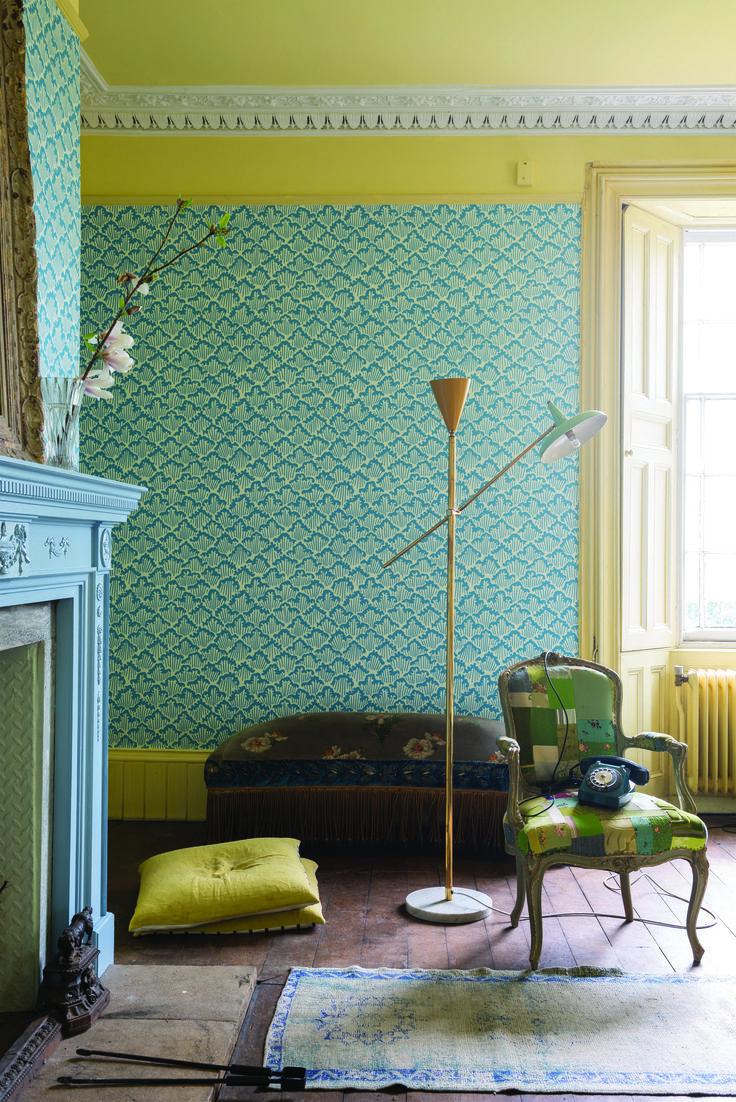 Farrow U0026 Ball Aranami Green Wallpaper Yellow Painted Ceiling Gallery