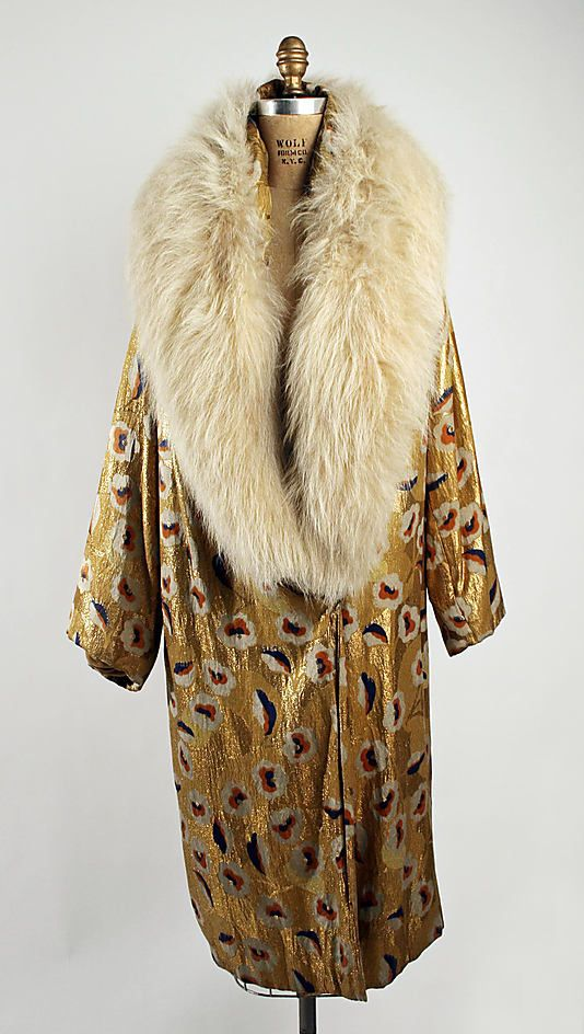 Evening coat  1926-28  American (probably)  metallic thread, silk, fur  MET museum