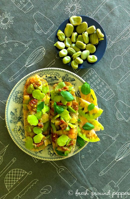 fava beans & sun dried tomatoes bruschetta
