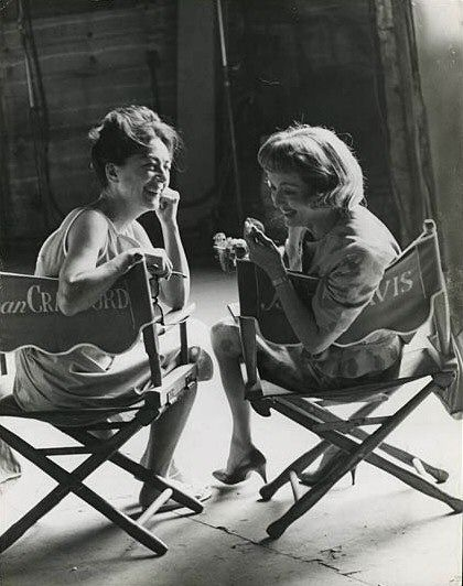 Joan Crawford & Bette Davis, set of Whatever Happened to Baby Jane? (Why are they laughing, the movie is dreadful..)