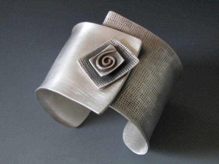 "Cuff | B Nelson Designs.  ""Square on Cuff"" Sterling Silver & 14K Gold"