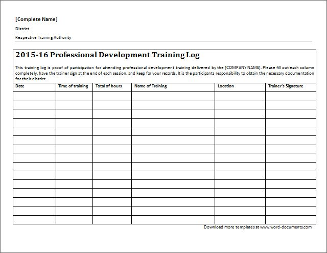professional development training log download at