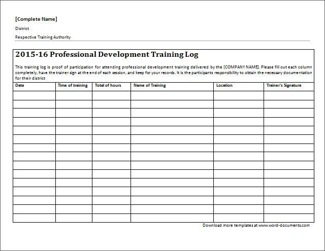 professional development training log download at. Black Bedroom Furniture Sets. Home Design Ideas