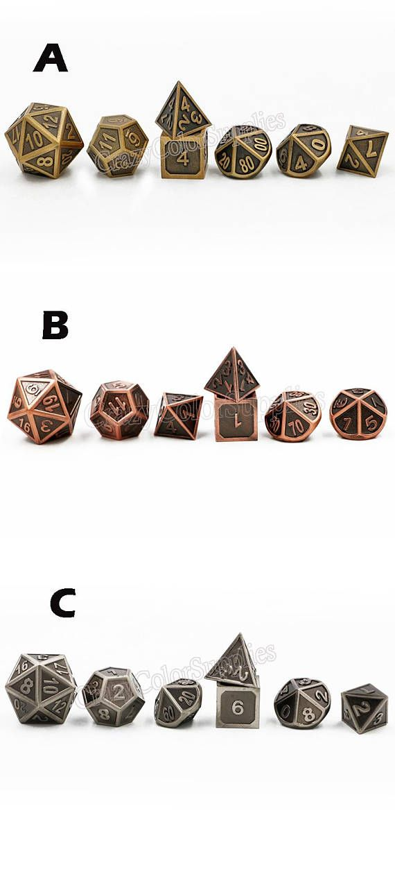 dice-d&d dice-dnd dice set-dungeons and dragons dice-polyhedral dice set-DnD Dice set-metal dice for DnD RPG Dungeons and Dragons-3 Color  These dice are made from solid metal , well crafted and each came with a very nice weight , it have fantastic quality with beautiful price . They are always well balanced, well made, sooooo satisfying to roll , It is a joy to use , you would love it definitely .   *****************^_^***************  ● ● ●Qty: 1 set ● ● ●Set includes 1 of the following...
