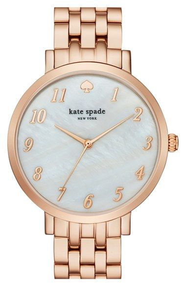 Free shipping and returns on kate spade new york 'monterey' bracelet watch, 38mm at Nordstrom.com. An elegant three-hand face graces the opalescent mother-of-pearl dial of a glamorous watch secured with a classic five-link bracelet.