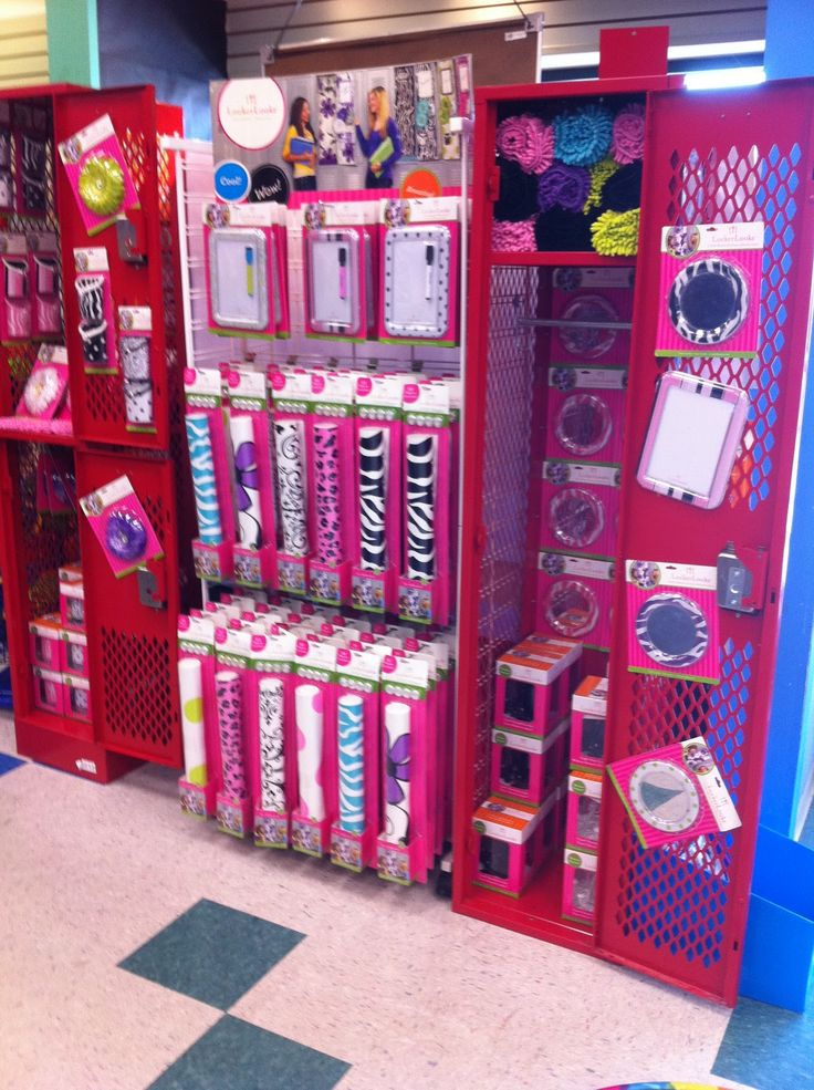 Locker supplies take up alot of space at a store for Room decoration products