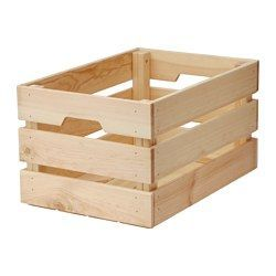 "IKEA - KNAGGLIG, Box, 18x12 ¼x9 ¾ "", , Perfect for storing larger things like tools and gardening tools, as the box is sturdy.You can save space by stacking two boxes on top of one another.Easy to pull out and lift as the box has handles.Untreated solid pine is a durable natural material that can be painted, oiled or stained according to preference."