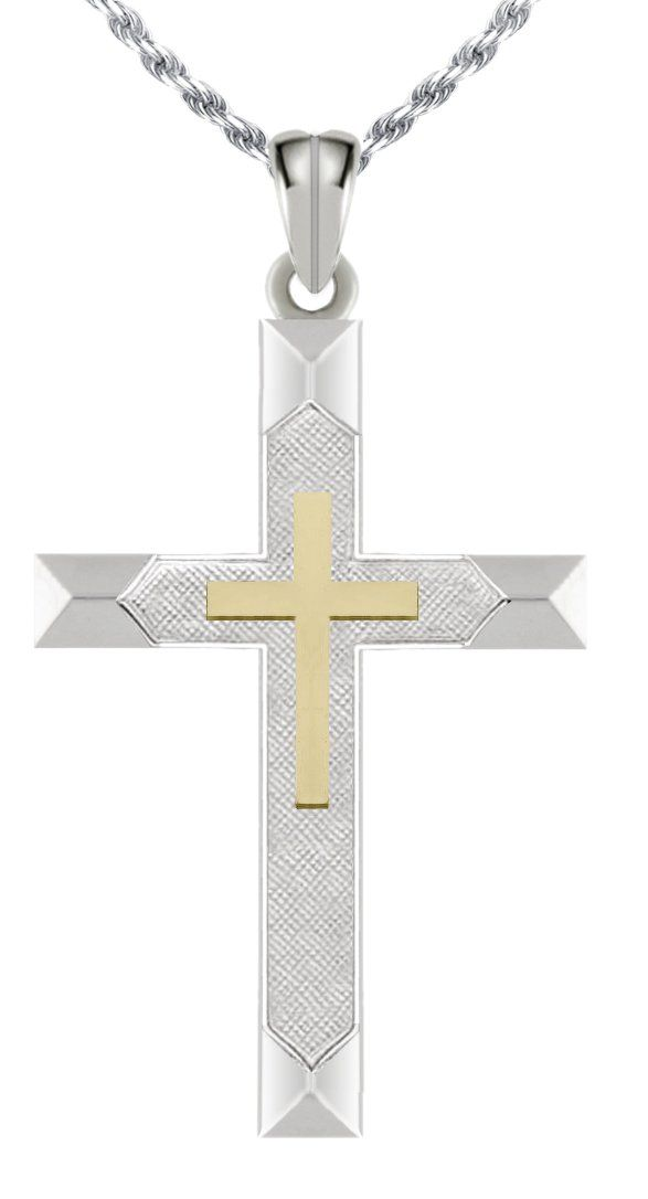 Polished Solid 0.925 Sterling Silver & 14k Gold Cross Pendant Necklace. 0.925 Sterling Silver. Pendant Length: 32mm, Pendant Width: 19mm. Size Comparison: US Dime: 17mm, US Nickel: 21mm, US Quarter: 25mm. 100% Money-Back Satisfaction Guarantee. Free Shipping.