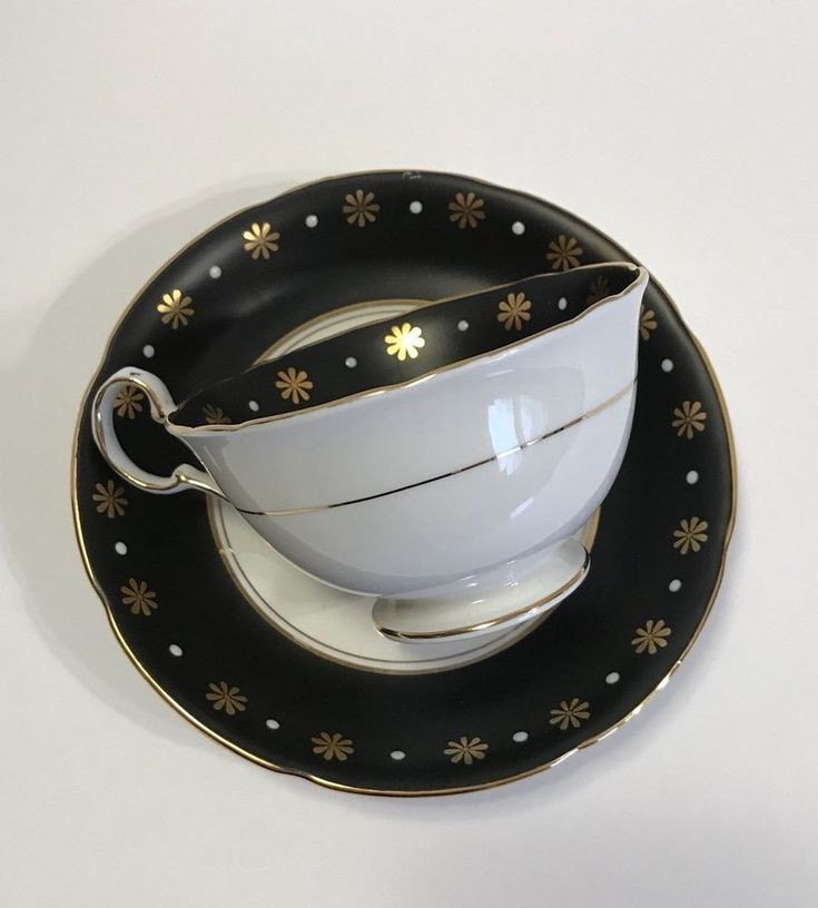 Royal Grafton Black On White With Gold Flowers Teacup And Saucer  | eBay