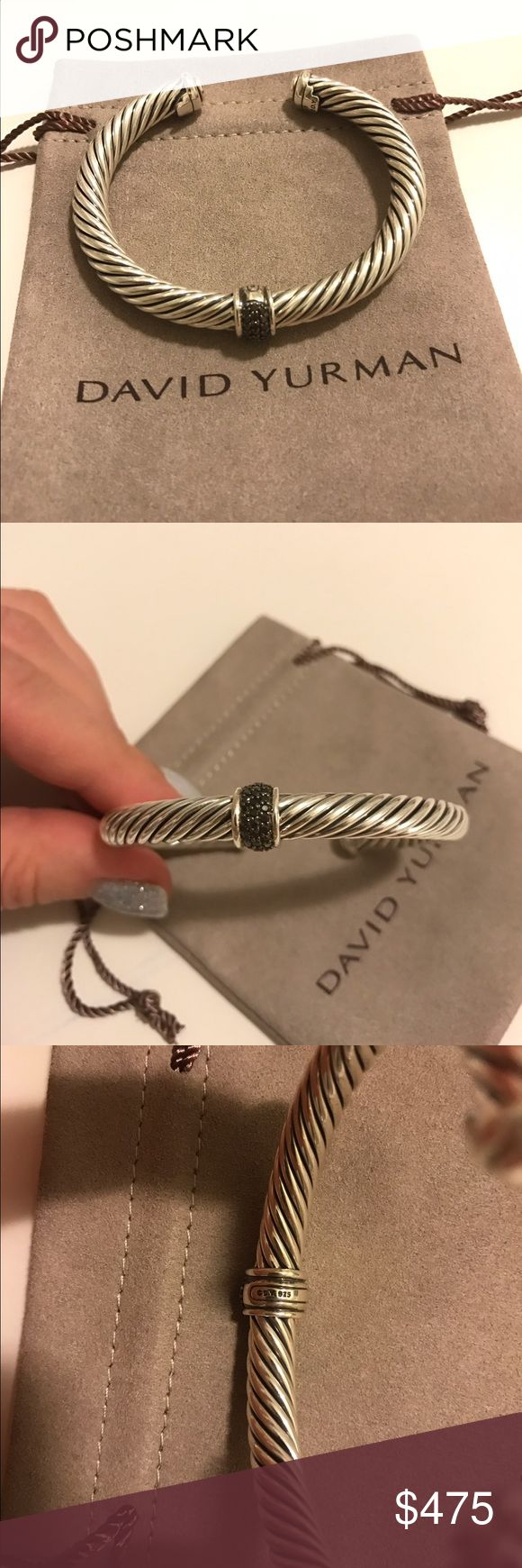 """David Yurman 7mm Black Diamond Bracelet Excellent Like New Pre-Owned Condition Authentic DAVID YURMAN  David Yurman Cable Classics with Black Diamonds, 7mm  Size: Medium   Retail $695 Sterling silver and 0.22 total carat weight Pave Black Diamonds 7mm wide  Comes with David Yurman Pouch  Hallmarked """"D.YURMAN"""",""""925""""  Please look at all pictures for details as this is the actual bracelet you are buying. David Yurman Jewelry Bracelets"""
