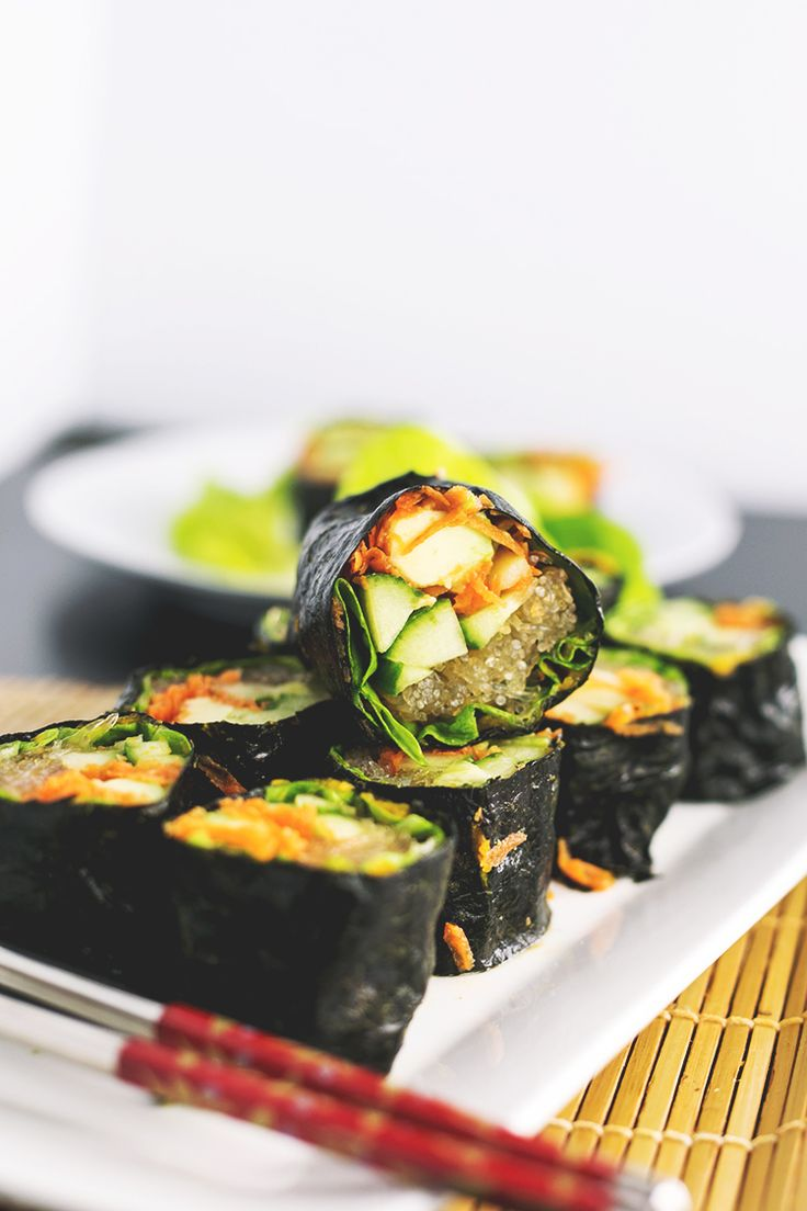 Raw Sushi Rolls filled with Kelp Noodles, Avocado, Cucumber and Carrot, served with a Tahini Soy Dipping Sauce.