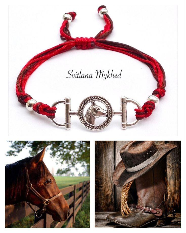 """Bracelet """"Cheval. Équestre. Équitation. Au galop. Fer à cheval."""" : Bracelet par perles-et-couronnes"""