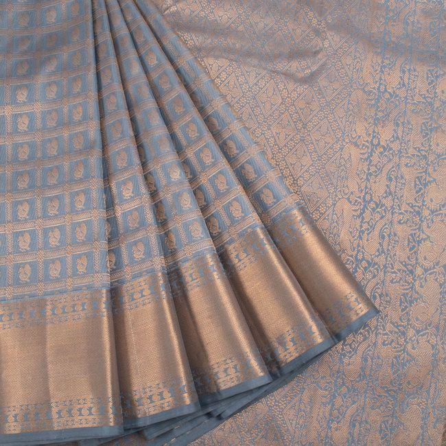 Buy online Handwoven Greyish Blue Kanjivaram Silk Saree With Checks, Hamsa Motifs & Paisley Border 10014510