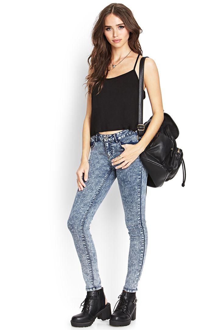 Acid Wash Skinny Jeans   FOREVER21 #Denim #AcidWash #Skinnies