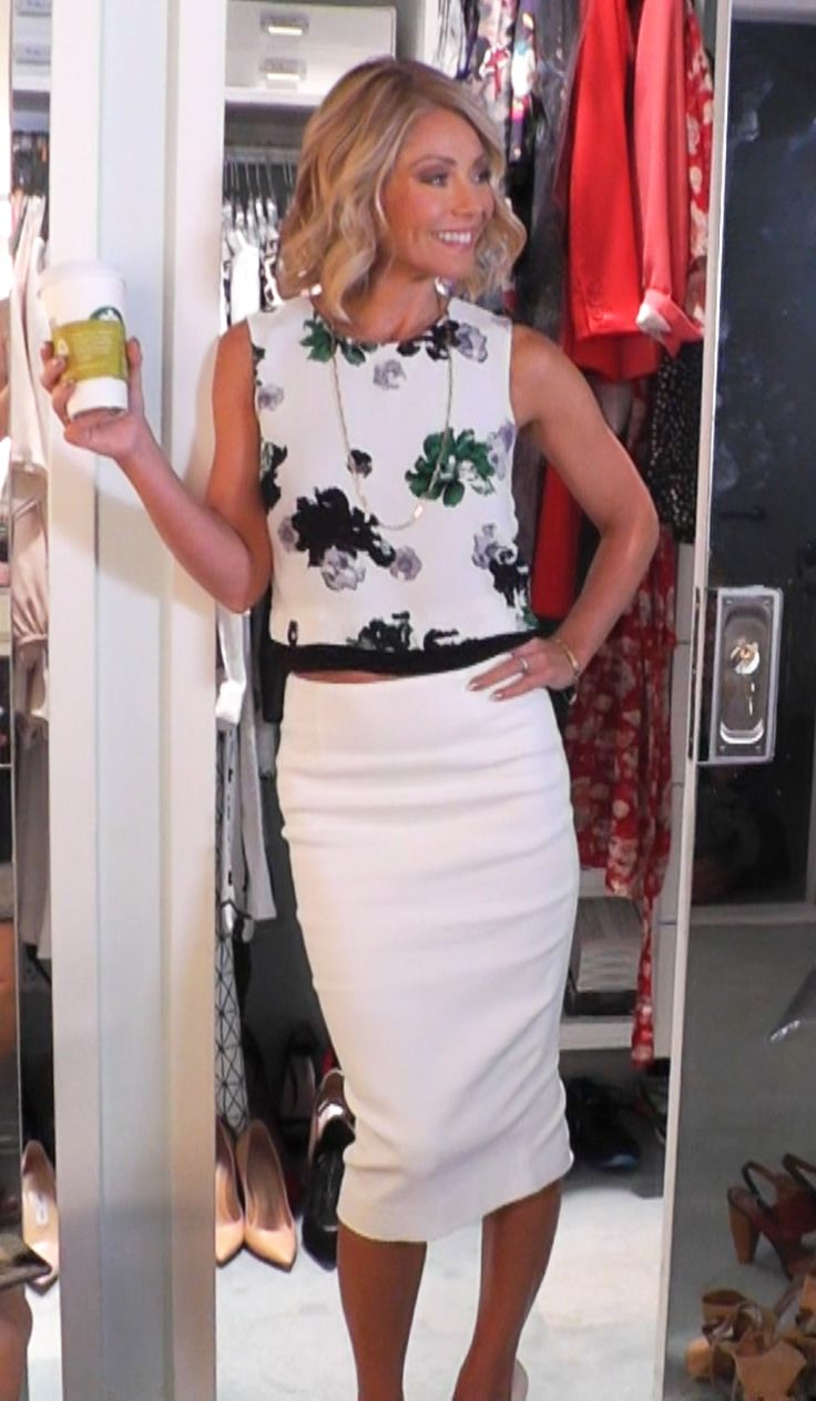 Kelly Ripa in an ALC top and Skirt from Intermix. LIVE