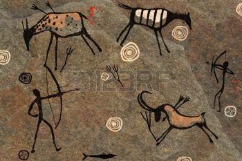 höhlenmalerei: Zeichnung auf einem Felsen im Vollbildmodus