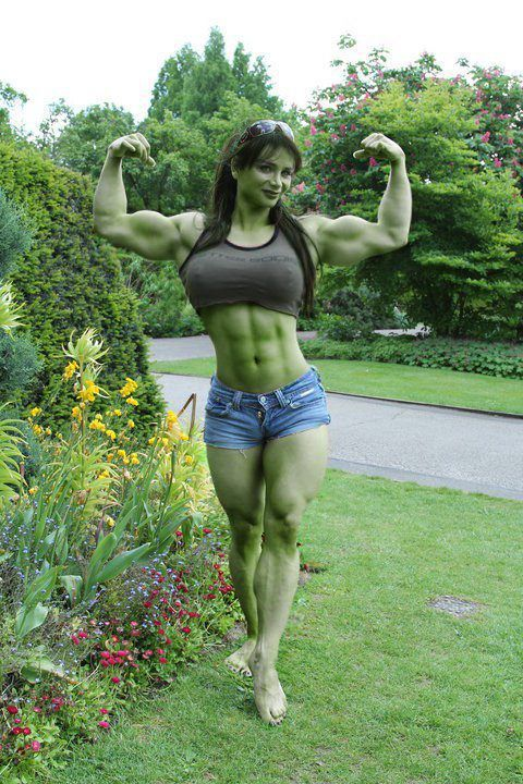 """""""She-Hulk cosplay."""" Just barely a cosplay, geeze that woman is impressively muscled! :D"""